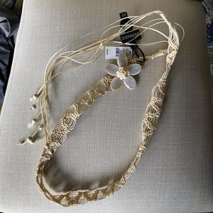 Tan Knitted belt with flower and beads